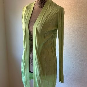 M Missoni Open Lime Green Wave Fine Knit Cardigan